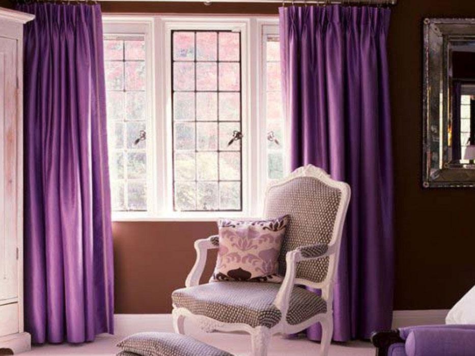 Простые фиолетовые шторы