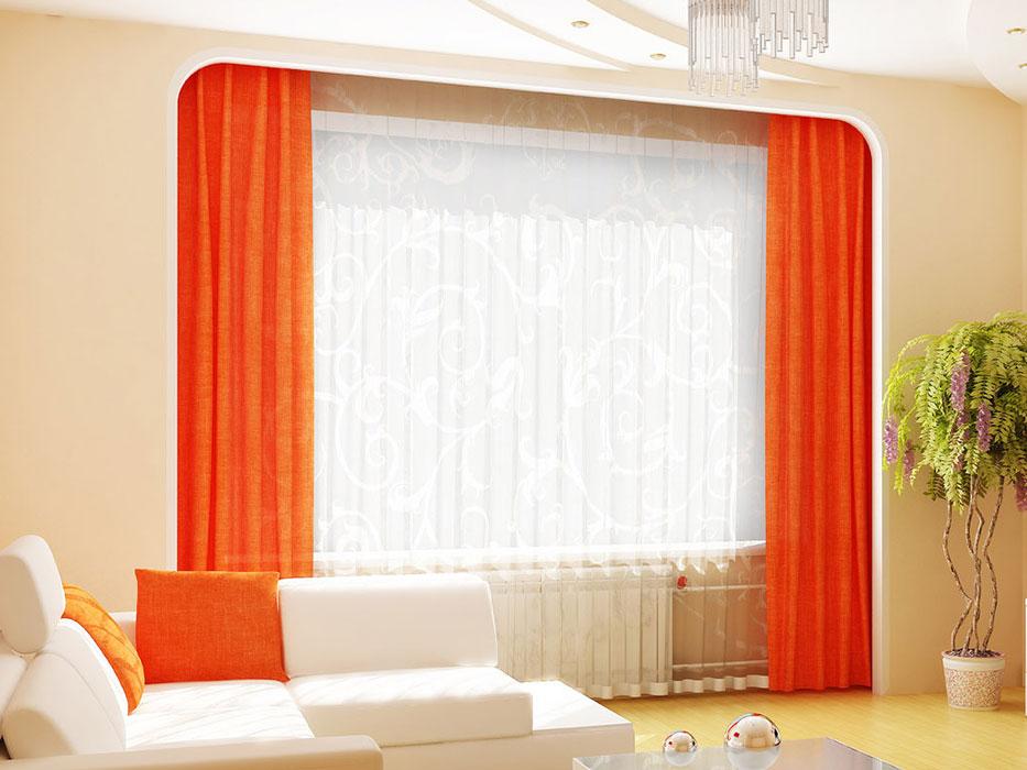 Простые оранжевые шторы