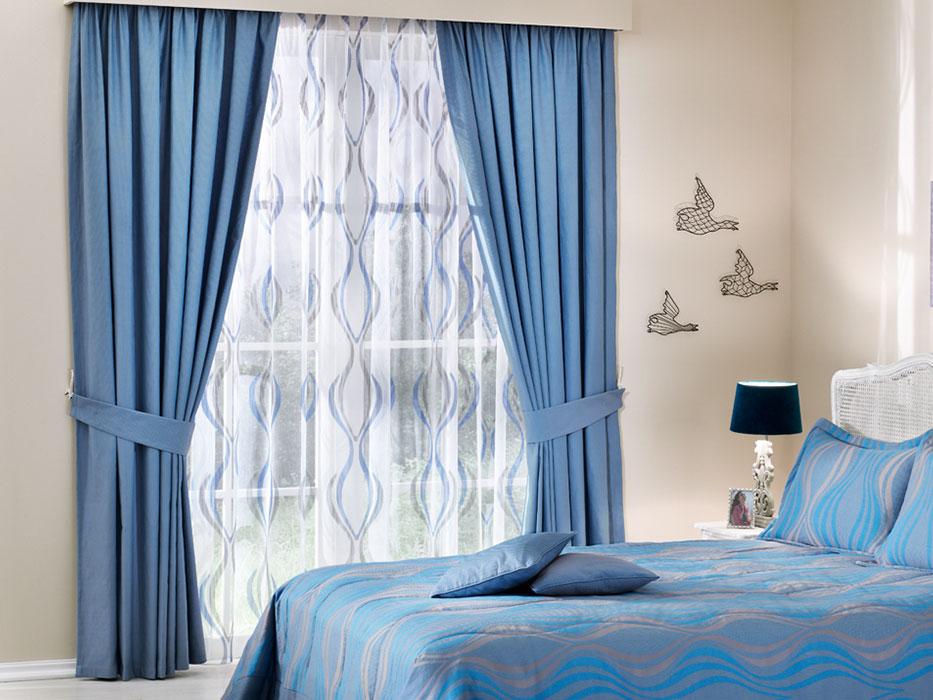 Простые синие шторы